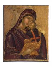 Madonna con Bambino (tipo della Glykophilousa) sec. XVI ambito cretese-postbizantino. Tempera su tavola.